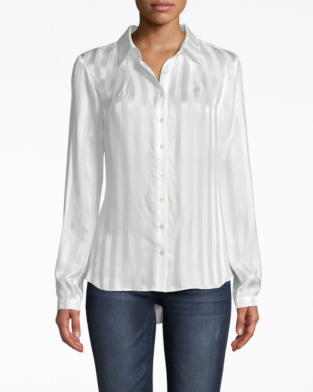 BI10161 - SATIN STRIPE BOYFRIEND BLOUSE - tops - blouses - SATIN AND STRIPES PUT A FUN TWIST ON THIS CLASSIC BOYFRIEND BLOUSE. WEAR UNDER A BLAZER OR SIMPLY WEAR SOLO. FRONT BUTTONS FOR CLOSURE.