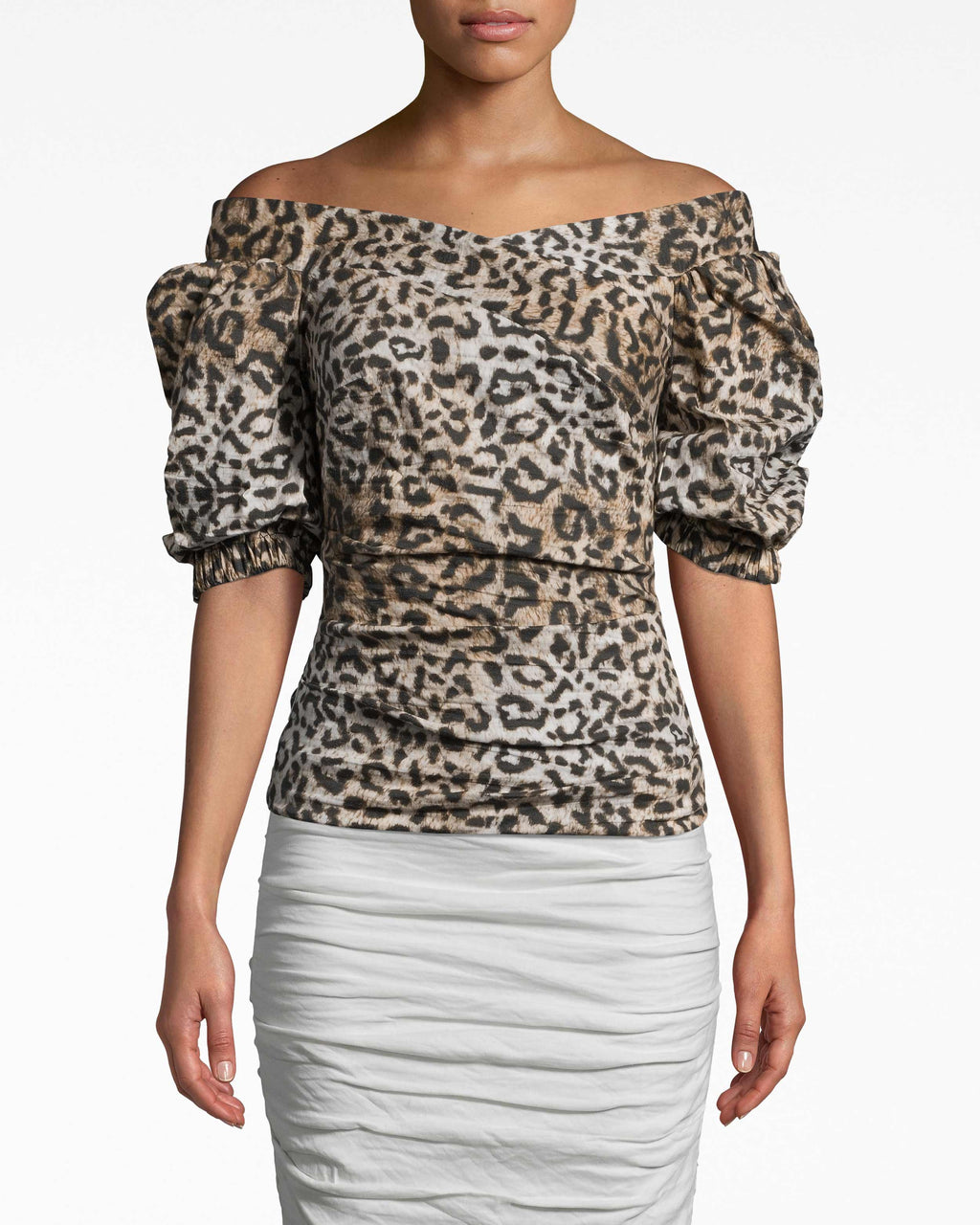 BI10163 - LEOPARD PUFF SLEEVE TOP - tops - shirts - IN OUR SIGNATURE COTTON METAL, THIS OFF THE SHOULDER TOP FEATURES PUFFED SLEEVES AND A RUCHED BODY FOR A FLATTERING FIT.EXPOSED BACK ZIPPER FOR CLOSURE.