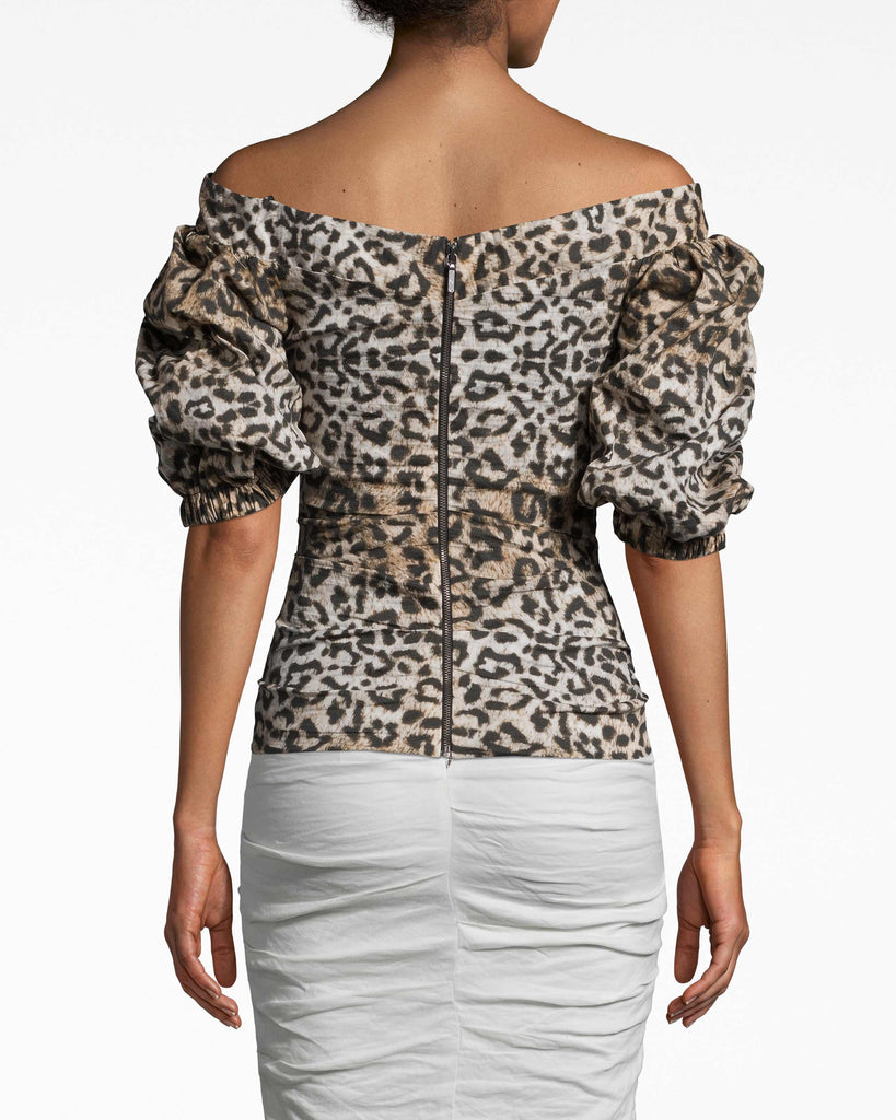 BI10163 - LEOPARD PUFF SLEEVE TOP - tops - shirts - IN OUR SIGNATURE COTTON METAL, THIS OFF THE SHOULDER TOP FEATURES PUFFED SLEEVES AND A RUCHED BODY FOR A FLATTERING FIT.EXPOSED BACK ZIPPER FOR CLOSURE. Alternate View