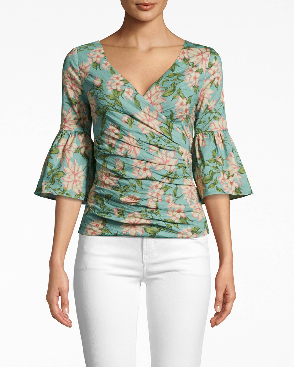 BI10168 - SPRING DREAM BELL SLEEVE TOP - tops - shirts - BELL SLEEVES, PLEASE. THIS STATEMENT TOP IS DESIGNED IN OUR ICONIC COTTON METAL IN THE NEW SPRING DREAM PRINT. THIS WRAPPED STYLE HAS BELL SLEEVES AND A V NECK. EXPOSED BACK ZIPPER.