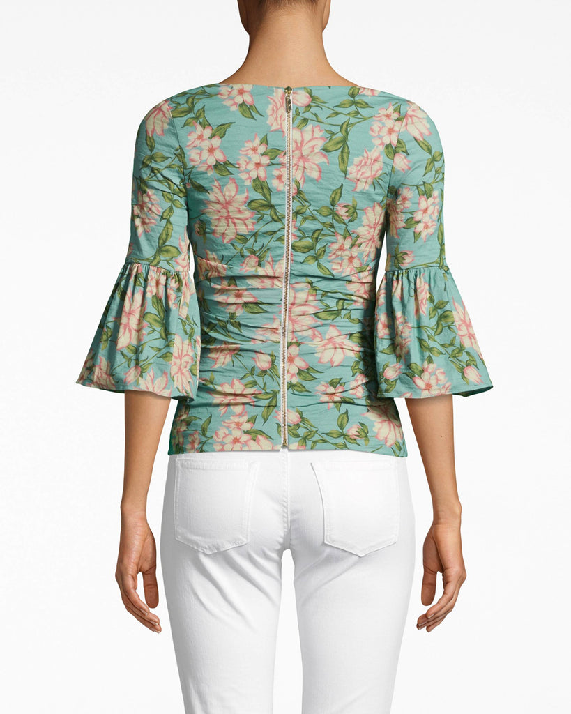 BI10168 - SPRING DREAM BELL SLEEVE TOP - tops - shirts - BELL SLEEVES, PLEASE. THIS STATEMENT TOP IS DESIGNED IN OUR ICONIC COTTON METAL IN THE NEW SPRING DREAM PRINT. THIS WRAPPED STYLE HAS BELL SLEEVES AND A V NECK. EXPOSED BACK ZIPPER. Alternate View