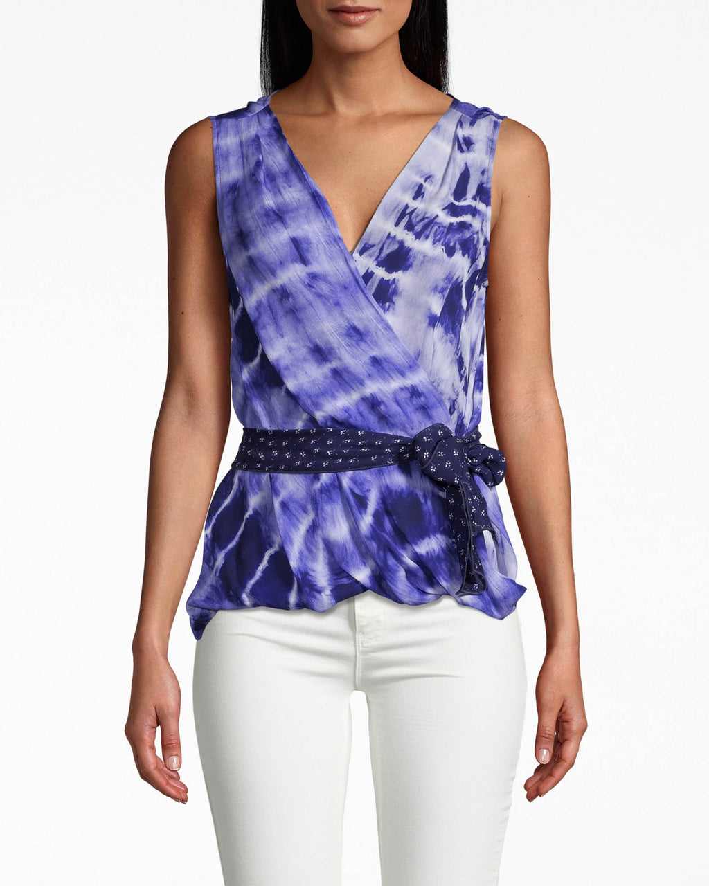 BI10171 - WATERCOLOR TIE DYE UPSIDE DOWN BLOUSE - tops - blouses - TIE DYE AND POLKA DOTS ARE THE PERFECT PAIR ON THIS FUN WRAP BLOUSE. WIDE STRAPS WRAP IN THE FRONT FOR A ELEGANT EFFECT WHILE THE POLKA DOT TIECINCHES AT THE SIDE. STANDOUT BY PAIRING WITH WHITE DENIM.