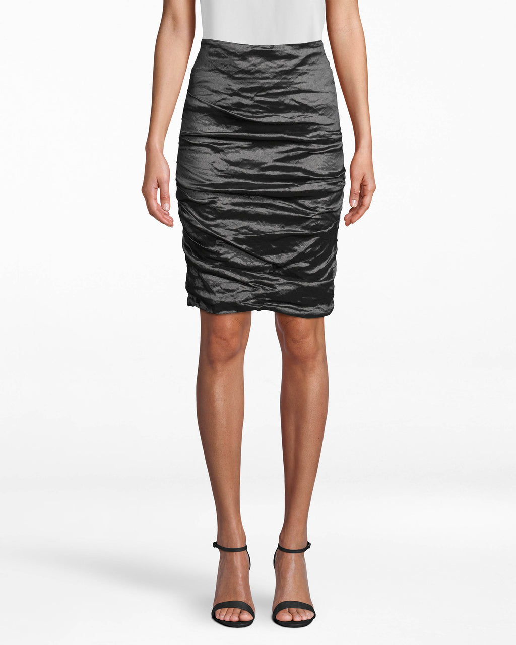 BJ0841 - SANDY TECHNO METAL SKIRT - bottoms - skirts - The unique fabric gathers (so intrinsic to our Techno Metal) on this body-fitting skirt elevates any workwear outfit. Pair back with a Techno Metal top of your choice. Exposed back zipper for closure.