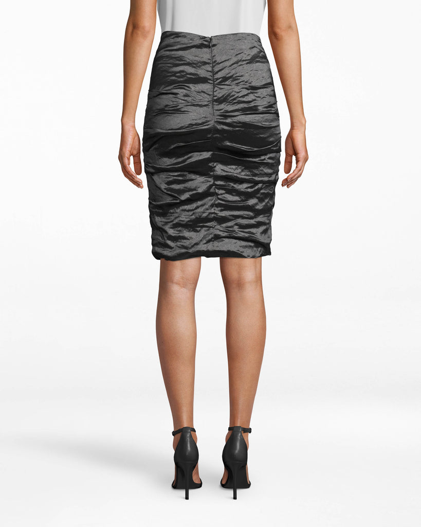 BJ0841 - SANDY TECHNO METAL SKIRT - bottoms - skirts - The unique fabric gathers (so intrinsic to our Techno Metal) on this body-fitting skirt elevates any workwear outfit. Pair back with a Techno Metal top of your choice. Exposed back zipper for closure. Alternate View