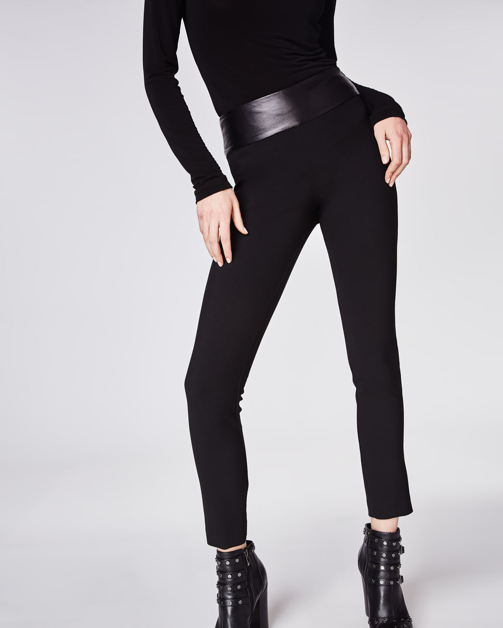 BJ10095 - STRETCHY TECH LEATHER WAISTBAND NINA PANT - bottoms - pants - Our classic skinny Nina Pant is updated with a leather waist band for an elvelated look. Finishedwith a concealed zipper and fully lined