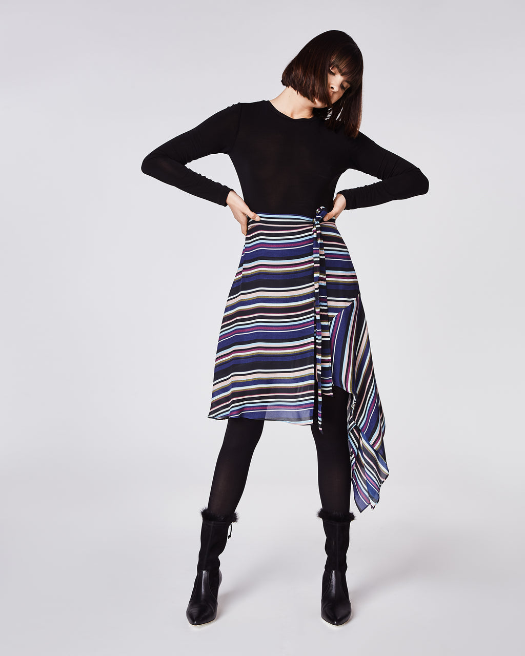 BJ10181 - FLIGHT STRIPE ASYMMETRICAL SKIRT - bottoms - skirts - In a light, striped silk, this skirt hugs the waist and flow out to an asymmetrical body. Pairs perfectly with a basic top and booties. Finished with a concealed zipper and fully lined. Final Sale