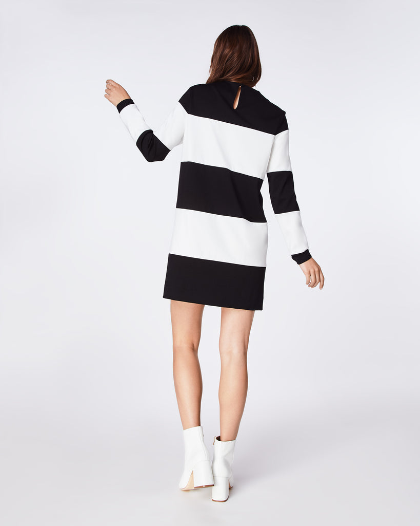 BJ10194 - PONTE STRIPED DRESS - dresses - short - A LONG SLEEVE STRIPED PONTE KNIT DRESS IS THE ULTIMATE TRANSITION PIECE. EASY TO WEAR AND VERSATILE FROM WORK TO WEEKEND. Alternate View