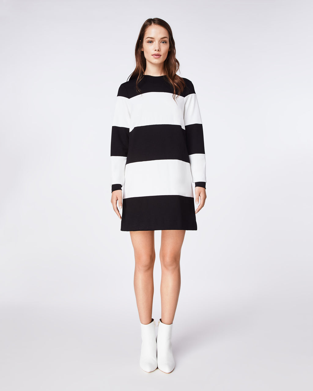 BJ10194 - PONTE STRIPED DRESS - dresses - short - A LONG SLEEVE STRIPED PONTE KNIT DRESS IS THE ULTIMATE TRANSITION PIECE. EASY TO WEAR AND VERSATILE FROM WORK TO WEEKEND.