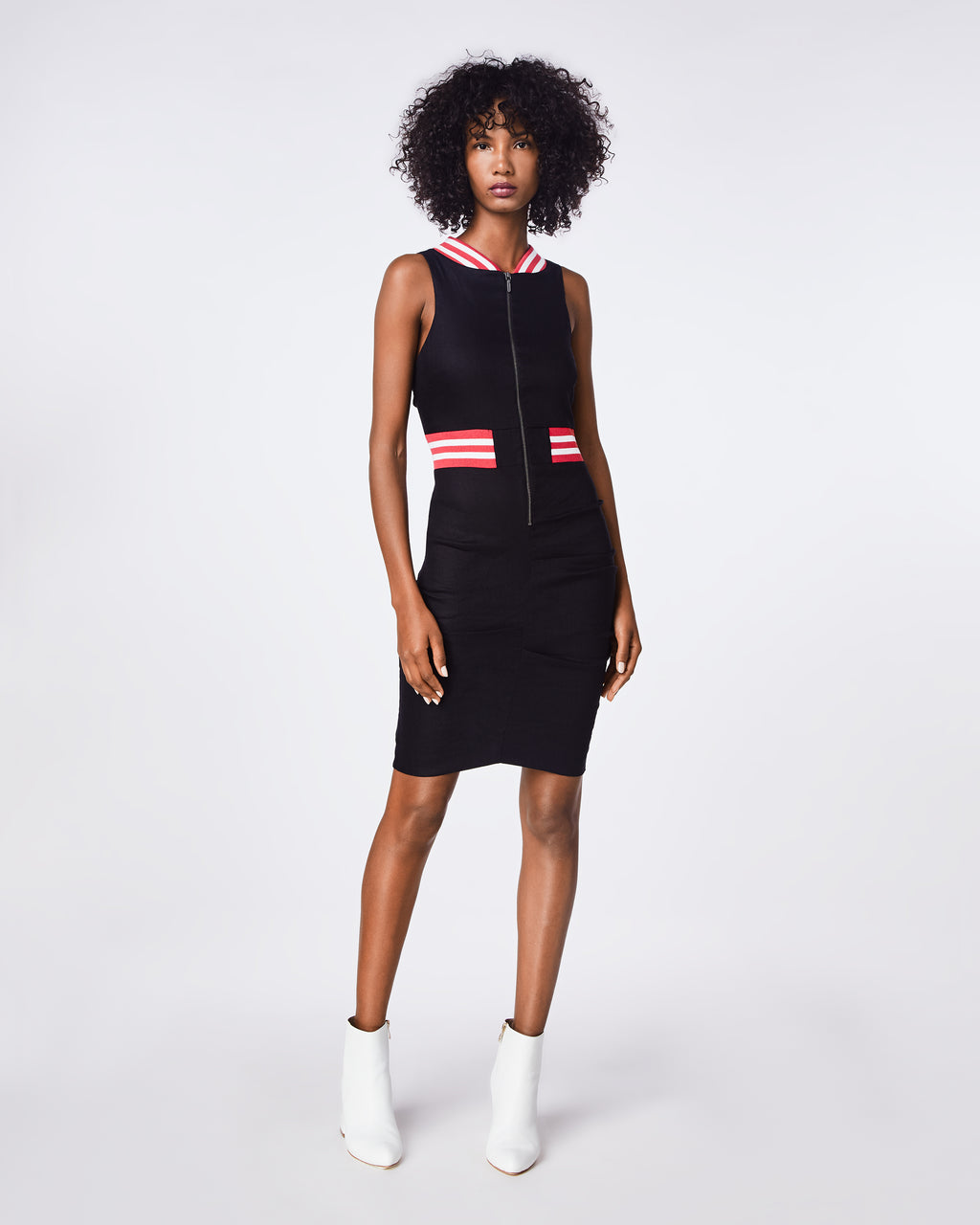 BJ10198 - STRETCH LINEN ZIP DRESS - dresses - short - THIS FITTED, SLEEVELESS DRESS FEATURES RIBBING ALONG THE NECKLINe AND WAIST. THE STRIPED RIBBING DETAIL GIVEs THIS DRESS THE ULTIMATE SPORTS LUXE LOOK. FULLY LINED.