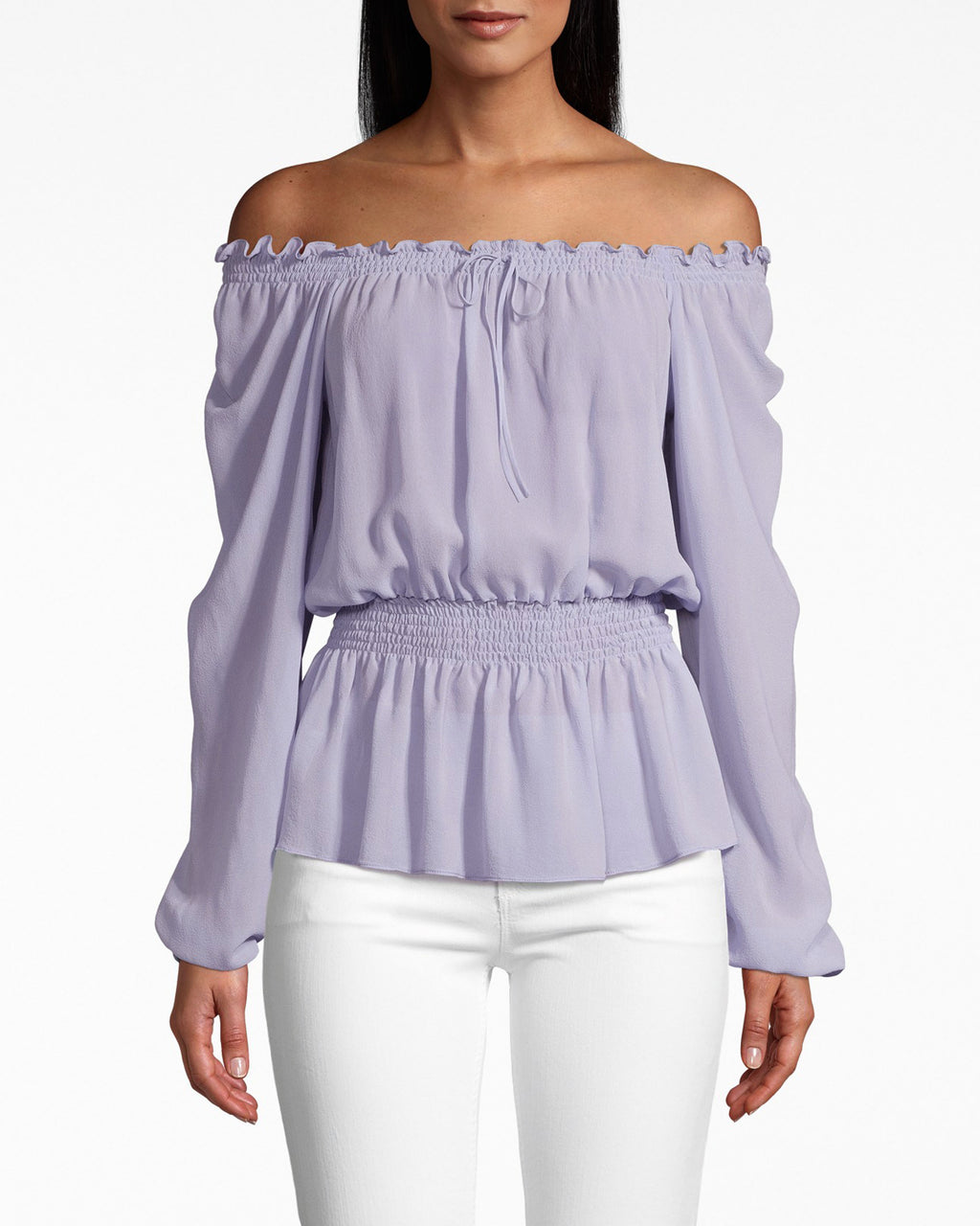 BJ10212 - SOLID SILK LONG SLEEVE SMOCKED BLOUSE - tops - blouses - SILKY AND SMOCKED. THIS BLOUSE IS SMOCKED AT THE WAIST AND CINCHED AT THE SLEEVES. THE RUFFLED NECKLINE UPGRADES THIS OFF THE SHOULDER STYLE.