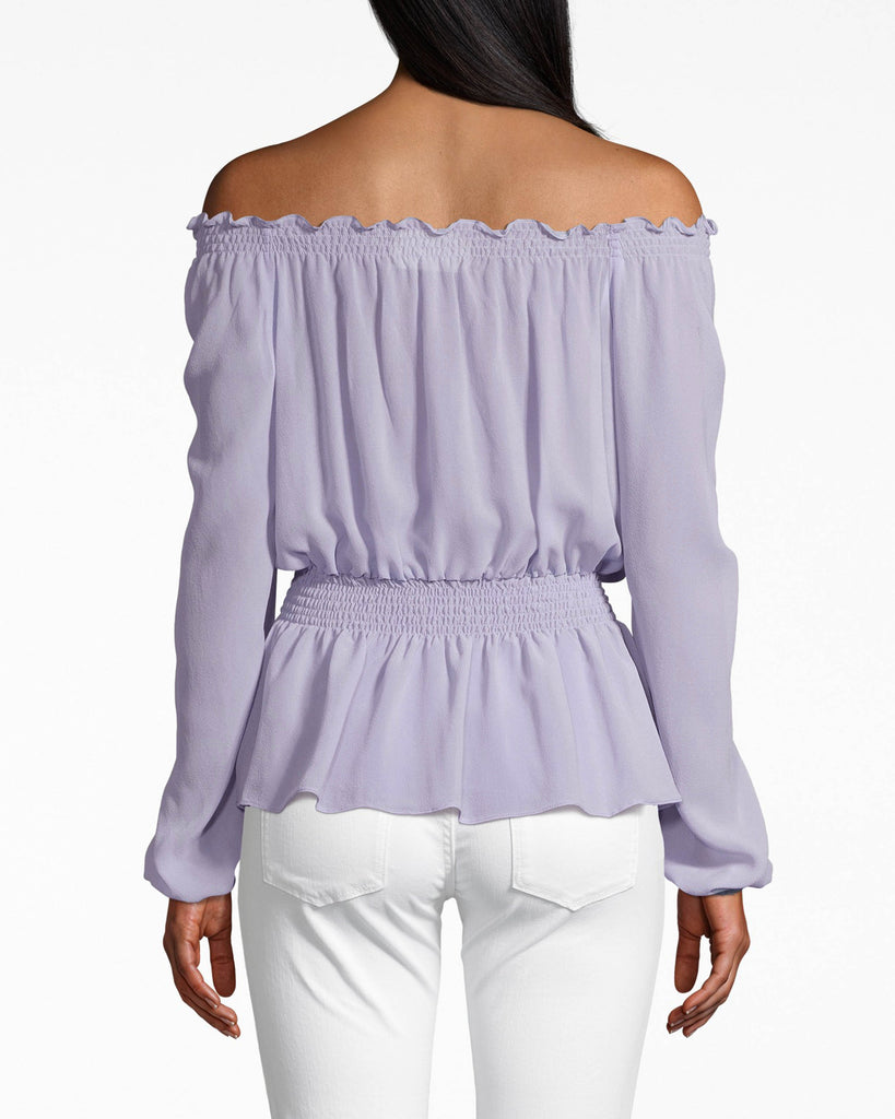 BJ10212 - SOLID SILK LONG SLEEVE SMOCKED BLOUSE - tops - blouses - SILKY AND SMOCKED. THIS BLOUSE IS SMOCKED AT THE WAIST AND CINCHED AT THE SLEEVES. THE RUFFLED NECKLINE UPGRADES THIS OFF THE SHOULDER STYLE. Alternate View