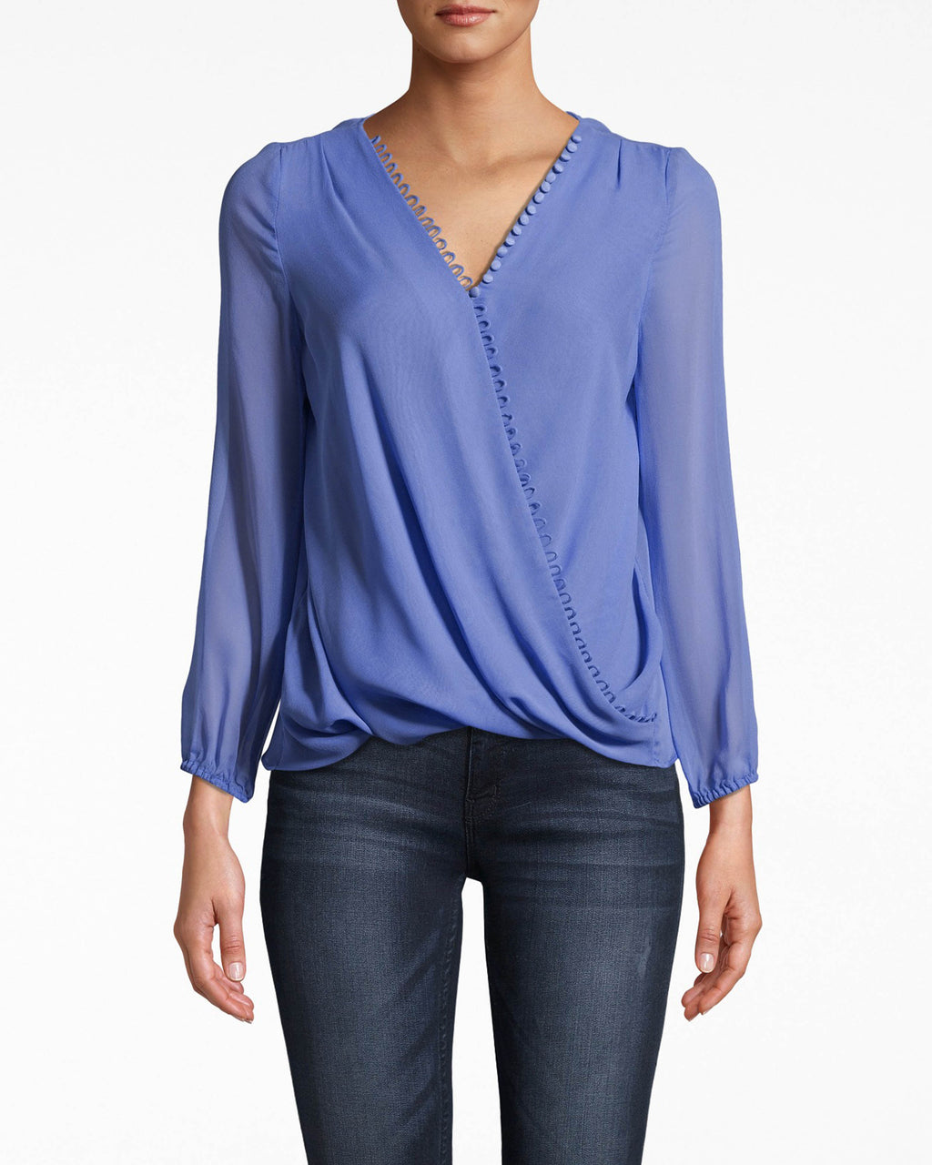 BJ10215 - Solid Silk Long Sleeve Blouse with Button Loops - tops - blouses - THIS RELAXED STYLE HAS A FAUX WRAP BODY AND BUTTON DETAILING FOR TEXTURE. THIS BRA FRIENDLY TOP HAS SHEER LONG SLEEVES AND IS CRAFTED IN LIGHTWEIGHT SILK. Add 1 line break STYLIST TIP: WEAR WITH JEANS AND SIMPLE JEWELRY.