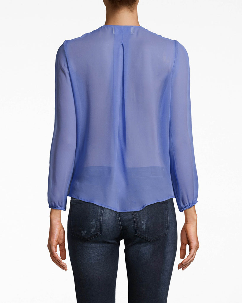 BJ10215 - Solid Silk Long Sleeve Blouse with Button Loops - tops - blouses - THIS RELAXED STYLE HAS A FAUX WRAP BODY AND BUTTON DETAILING FOR TEXTURE. THIS BRA FRIENDLY TOP HAS SHEER LONG SLEEVES AND IS CRAFTED IN LIGHTWEIGHT SILK. Add 1 line break STYLIST TIP: WEAR WITH JEANS AND SIMPLE JEWELRY. Alternate View