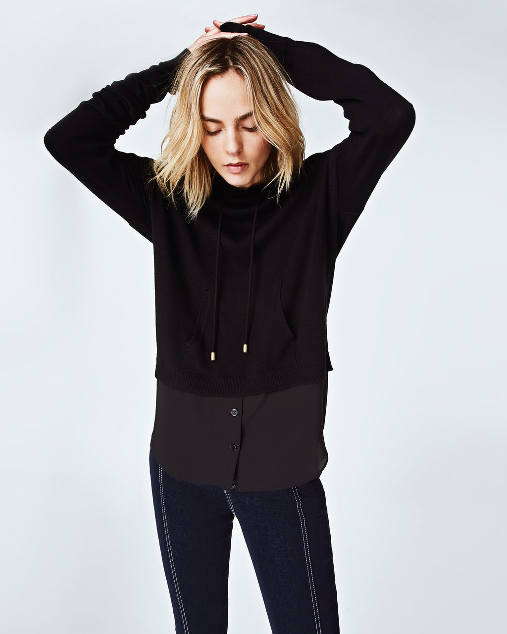 BK10253 - KNIT TO WOVEN HOODIE - tops - knitwear - In our signature knit to woven, this basic black hoodie is your new favorite piece. Pairs easily with jeans and sneakers for a cool and casual look. Finished with draw strings for a sporty vibeand unlined.