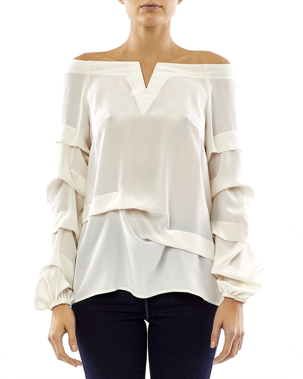 "BK10258 - SOLID SILK TIDAL PLEAT ""V"" TOP - samples - tops - Let's mix darling with daring. This v-neck top features pleated details and an asymmetrical top hem. Pair with denim. Final Sale"