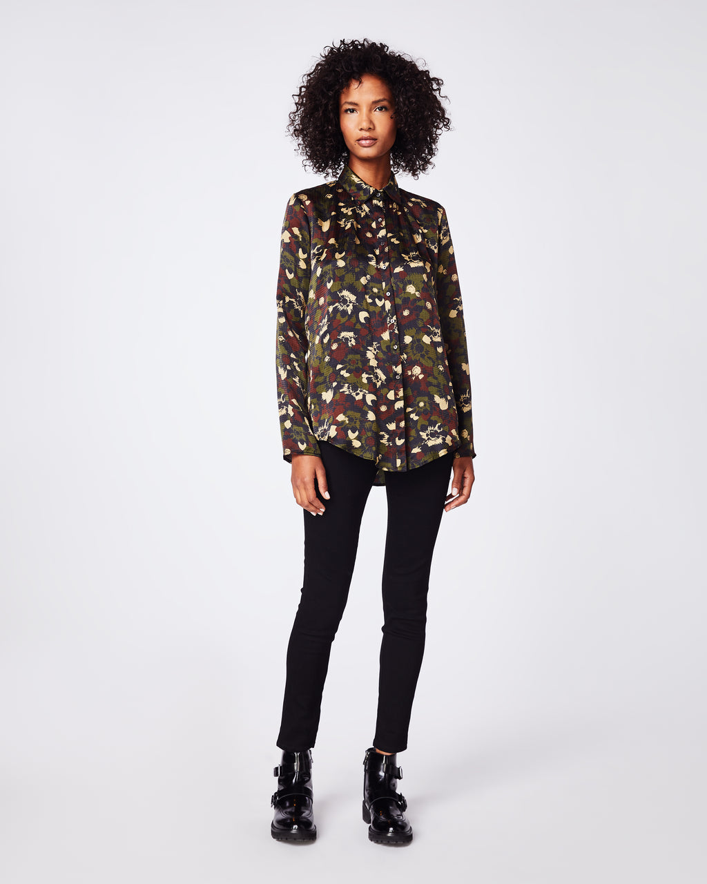 BK10265 - CAMO FLORAL RIPSTOP BOYFRIEND SHIRT - tops - blouses - In a textured silk, this boyfriend button up blouse can be easily paired with jeans for a casual look. Final Sale