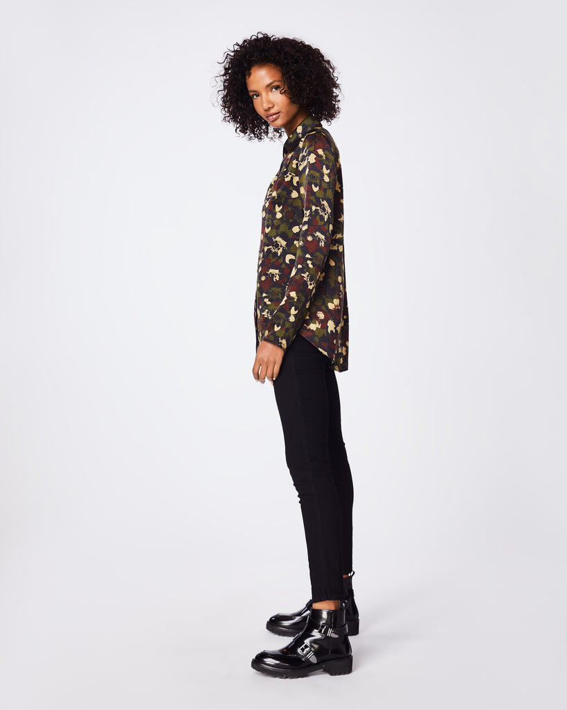 BK10265 - CAMO FLORAL RIPSTOP BOYFRIEND SHIRT - tops - blouses - In a textured silk, this boyfriend button up blouse can be easily paired with jeans for a casual look. Final Sale Alternate View