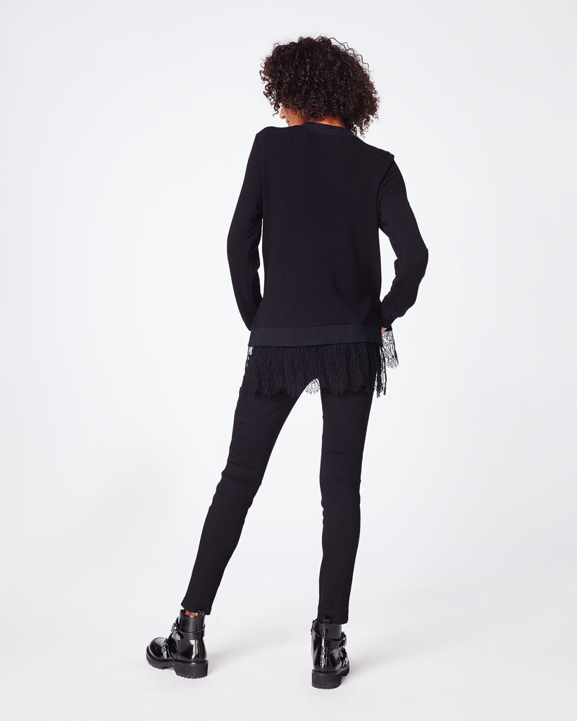 BK10266 - EMBELLISHED EAGLE SWEATSHIRT - tops - knitwear - This cotton sweater features a ruffled hem and embellished eagle. Unlined. Alternate View