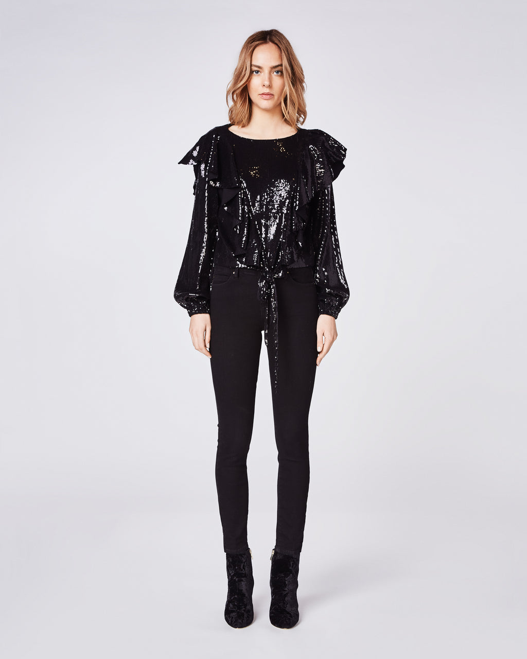 BK10267 - SEQUIN LONGSLEEVE RUFFLE BLOUSE - tops - blouses - The ultimate make-a-statement top featuring sequins, ruffles, and bell sleeves. The tie front detail makes for a flattering fit. Final Sale