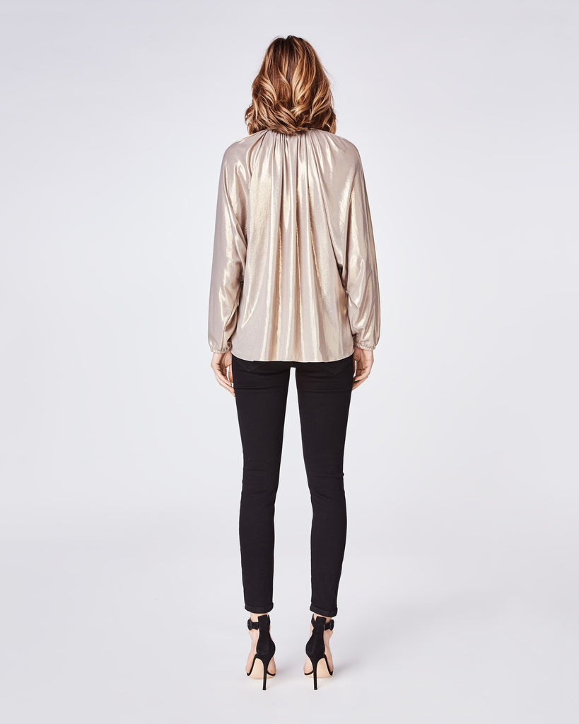 BK10269 - METALLIC FOIL TIE BLOUSE - tops - blouses - A feminine style, but add the gold metallic fabric on this long-sleeve blouse for a downtown vibe. This lightweight blouse features a neck bow tie at the neckline and a dolman style sleeve. Final Sale Alternate View