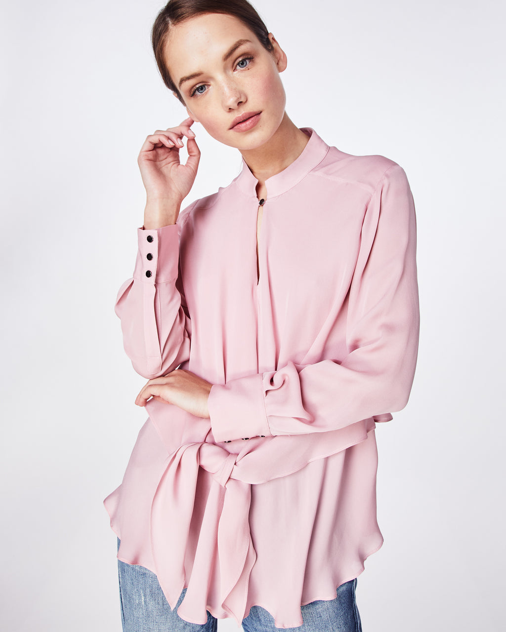 BK10272 - SOLID SILK BLEND TIE BLOUSE - tops - blouses - For your dressy moments. This top is silky and sheer, effortless in its movement and comfortable to fit. Wear with denim and flats or heels.