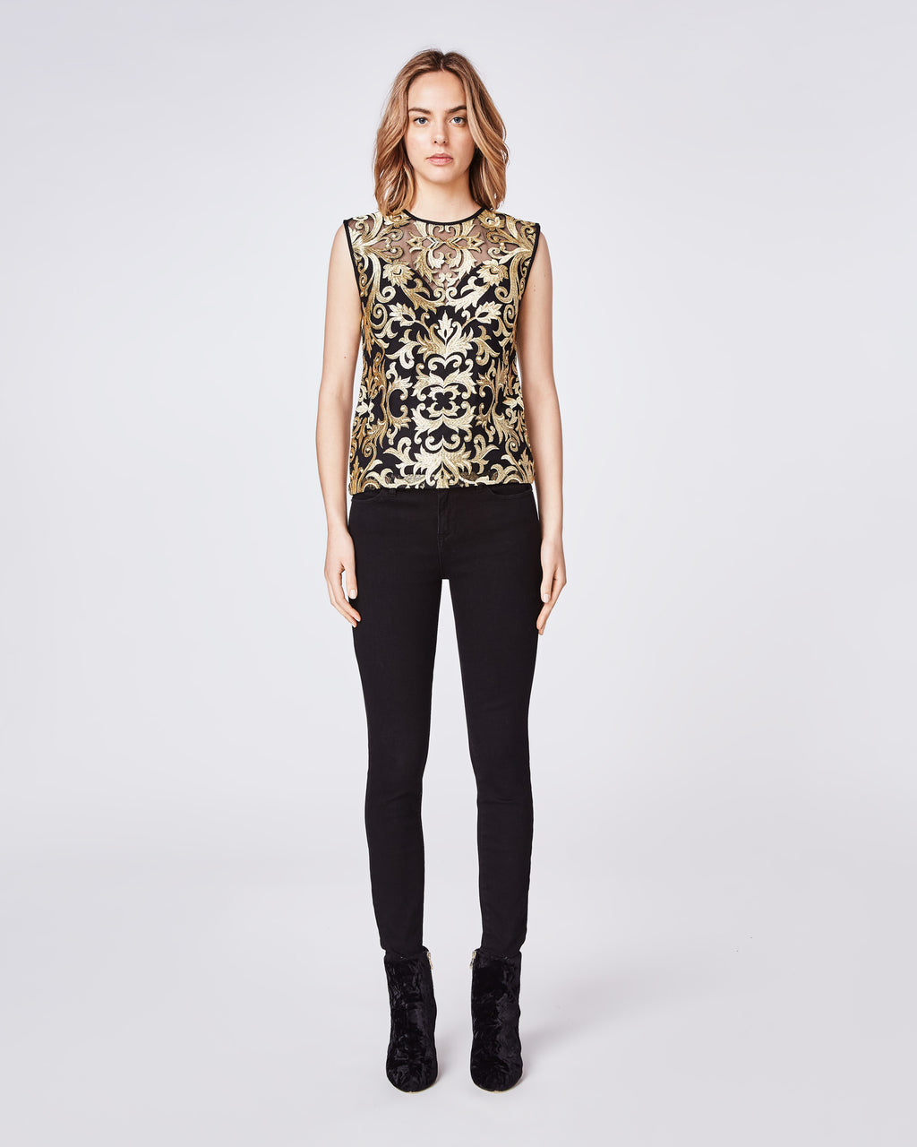 BK10273 - SCROLL EMBROIDERY SLEEVELESS TOP - tops - blouses - When Uptown meets Downtown. This sleeveless blouse is cut in a sleek silhouette and features gold embroidery. Style with denim or black skinnies. Final Sale