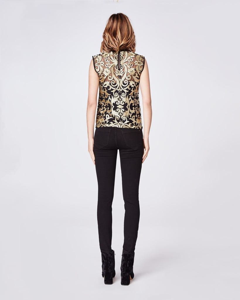 BK10273 - SCROLL EMBROIDERY SLEEVELESS TOP - tops - blouses - When Uptown meets Downtown. This sleeveless blouse is cut in a sleek silhouette and features gold embroidery. Style with denim or black skinnies. Final Sale Alternate View