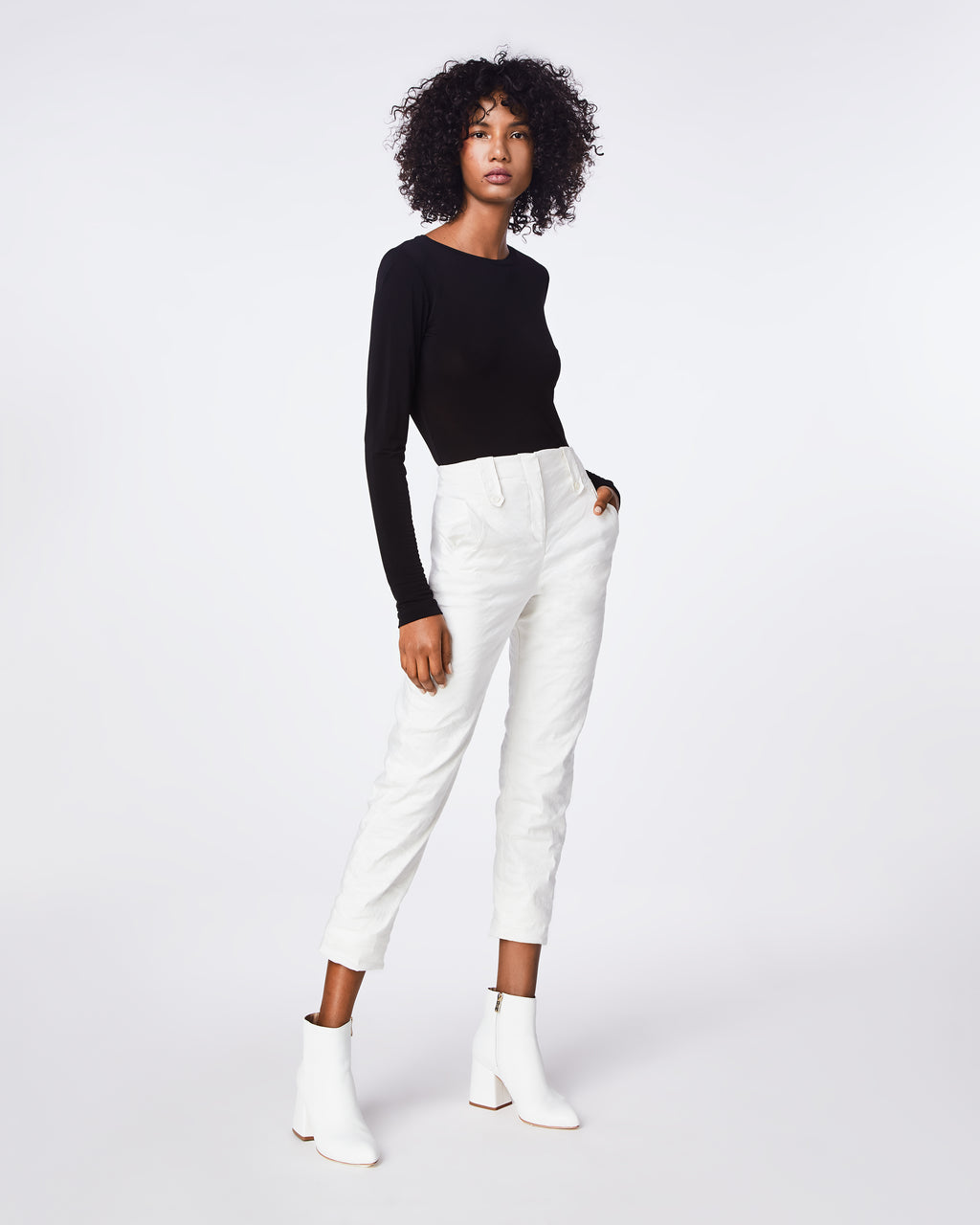 BK10276 - COTTON METAL TROUSER PANT - bottoms - pants - In our signature cotton metal fabric, this trouser pant is ruched along the sides for tappered fit. Pair it back with the cotton metal off the shoulder top for a statement look. Fully lined.