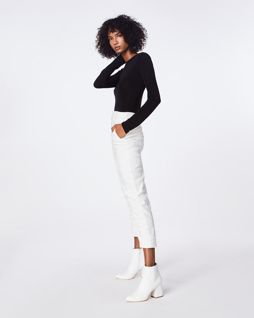 BK10276 - COTTON METAL TROUSER PANT - bottoms - pants - In our signature cotton metal fabric, this trouser pant is ruched along the sides for tappered fit. Pair it back with the cotton metal off the shoulder top for a statement look. Fully lined. Alternate View