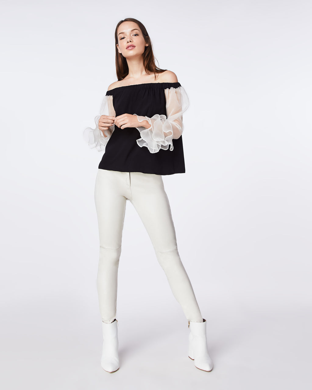 BK10277 - ORGANZA AND CHARMEUSE BLEND OFF THE SHOULDER TOP - tops - shirts - A FEMININE OFF THE SHOULDER TOP THAT FEATURES RUFFLE SLEEVES. IT HAS AN ELASTIC SHOULDER BAND FOR A COMFORTABLE, CHIC FIT.