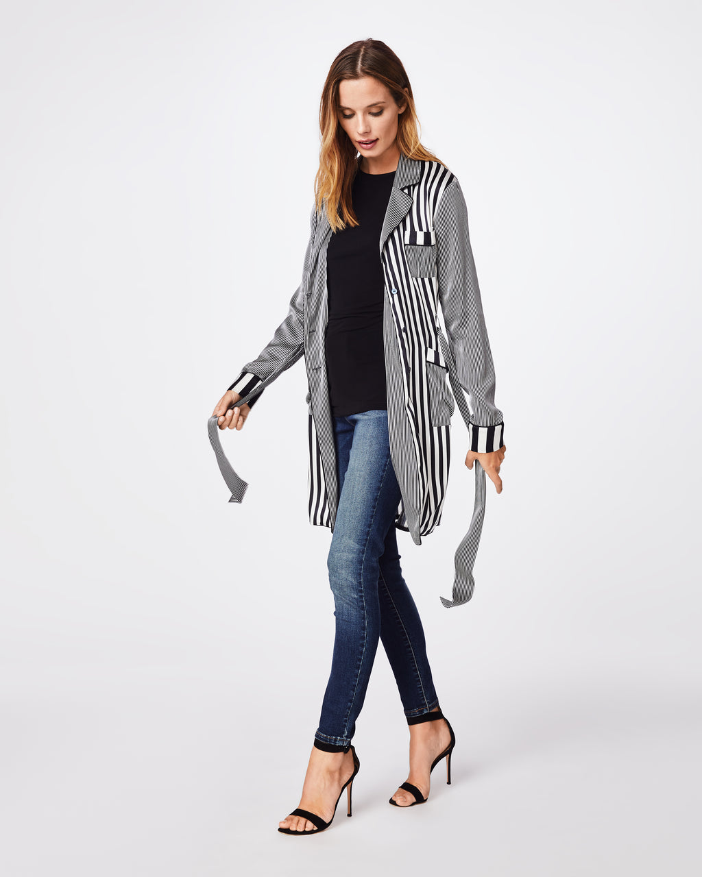 BK10278 - PAJAMA STRIPE ROBE - outerwear - jackets - Need a light cover up? We have you covered. This silky robe is the perfect layering piece. Wear it open or tie it up.