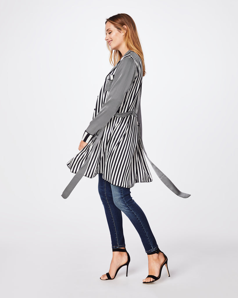 BK10278 - PAJAMA STRIPE ROBE - outerwear - jackets - Need a light cover up? We have you covered. This silky robe is the perfect layering piece. Wear it open or tie it up. Alternate View