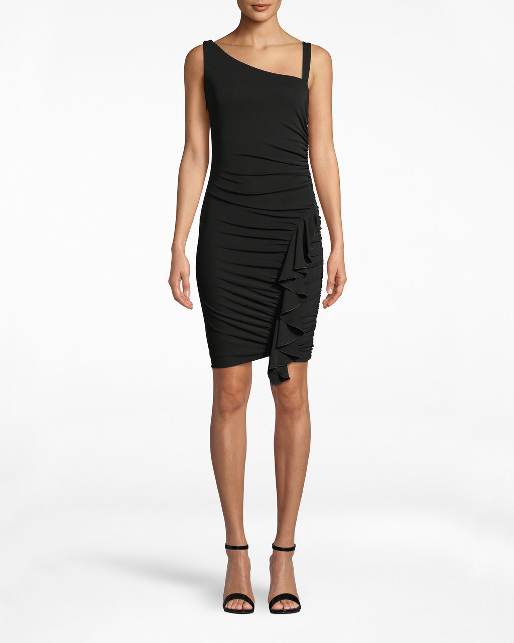 BK10299 - STRETCHY MATTE JERSEY RUCHED RUFFLE DRESS - dresses - midi - Look closer, this 3/4 sleeveless dress is more detailed than it appears. The draping bodice loosely lays onto your frame before the accordion skirt cinches from the waist down.