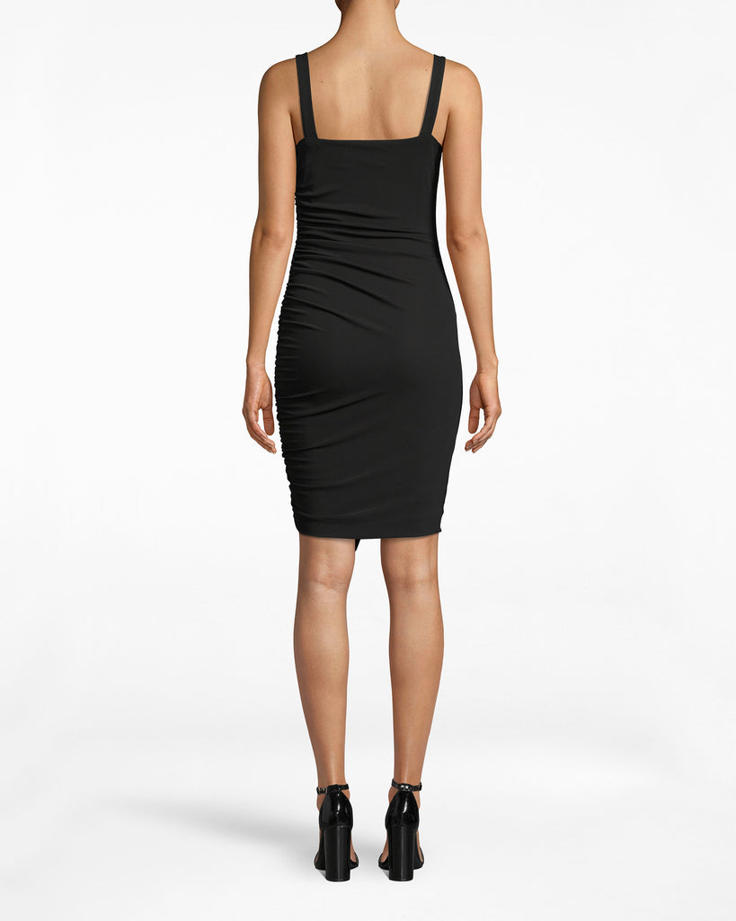 BK10299 - STRETCHY MATTE JERSEY RUCHED RUFFLE DRESS - dresses - midi - Look closer, this 3/4 sleeveless dress is more detailed than it appears. The draping bodice loosely lays onto your frame before the accordion skirt cinches from the waist down. Alternate View