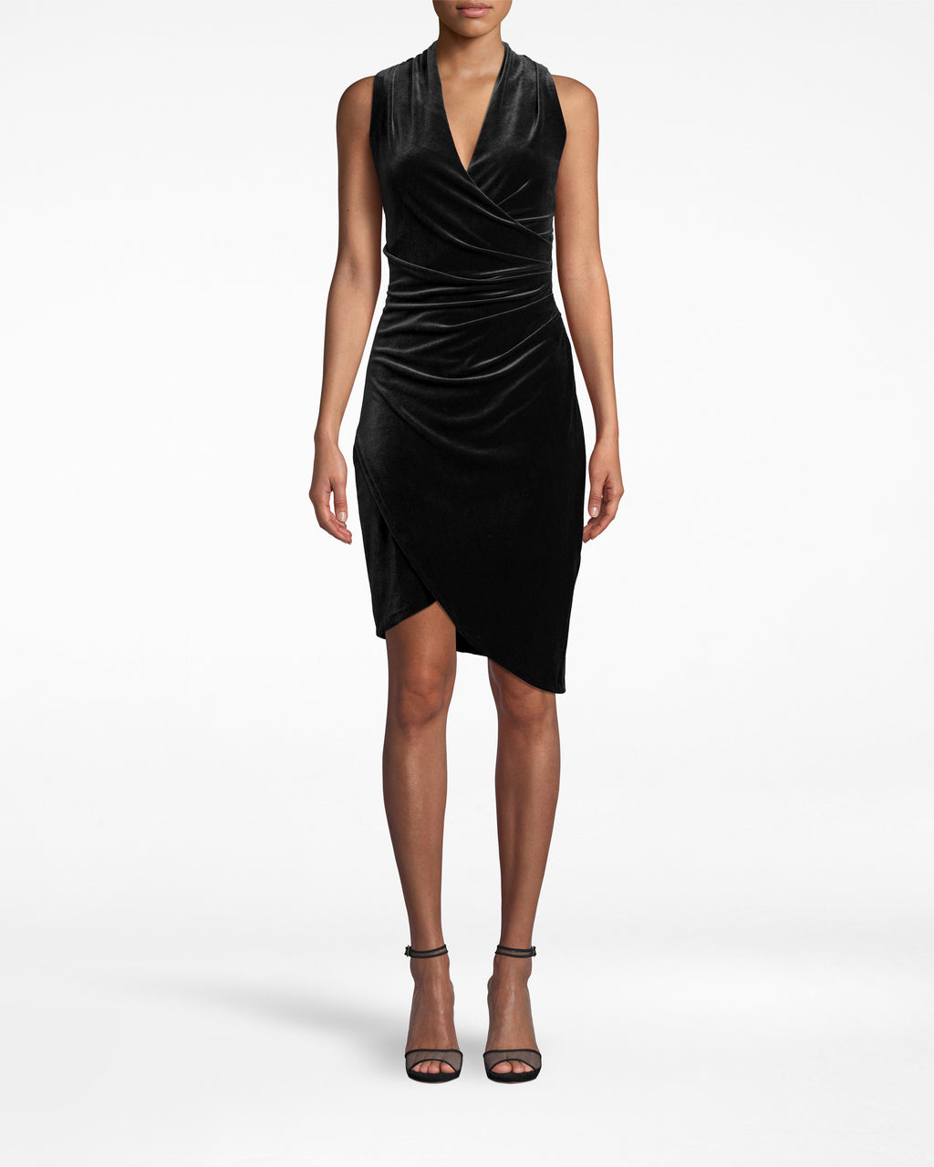BK20020 - STRETCH VELVET STEFANIE DRESS - dresses - short - The chic Stefanie. The fabric gathering on this velvet sleeveless dress adds unique structure. The hem is asymmetrical, with the left side hitting just above the knee and the right a few inches above. Exposed back zipper for closure.