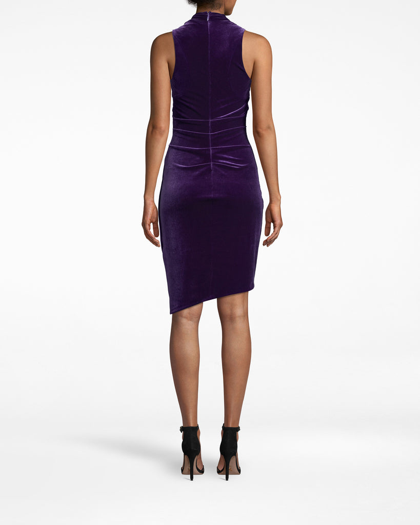 BK20020 - STRETCH VELVET STEFANIE DRESS - dresses - short - The chic Stefanie. The fabric gathering on this velvet sleeveless dress adds unique structure. The hem is asymmetrical, with the left side hitting just above the knee and the right a few inches above. Exposed back zipper for closure. Alternate View