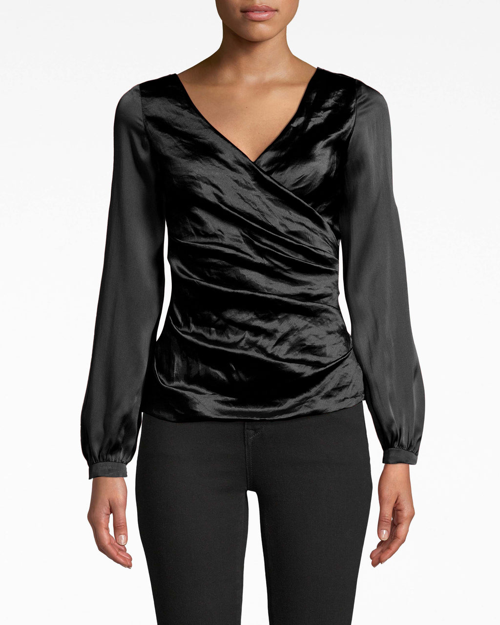 BK20042 - LONG SLEEVE TECHNO METAL COMBO TOP - tops - blouses - Chic balloon sleeves look darling with this combo top's Techno Metal bodice. The v-neck leads eyes toward the wrapped fabric waist. Exposed back zipper for closure.