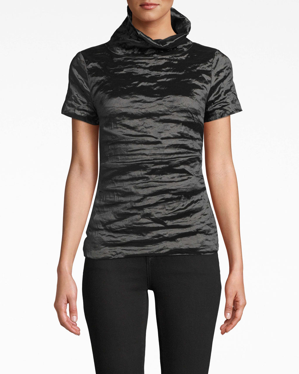 BK20043 - HIGH NECK TOP - tops - shirts - An unexpected high neck takes the lead on this textured Techno Metal top. Pair it with dark denim or dress pants. Exposed back zipper extends to the collar.