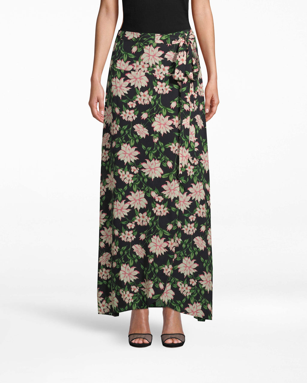 BL10167 - SPRING DREAM SKIRT - bottoms - skirts - WEAR THIS RUNWAY LOOK EVERYWHERE FROM THE BEACH TO BRUNCH. THIS FAUX WRAP SKIRT FEATURES A TIE SIDE AND SIDE SLIT. CONCEALED BACK ZIPPER FOR CLOSURE.