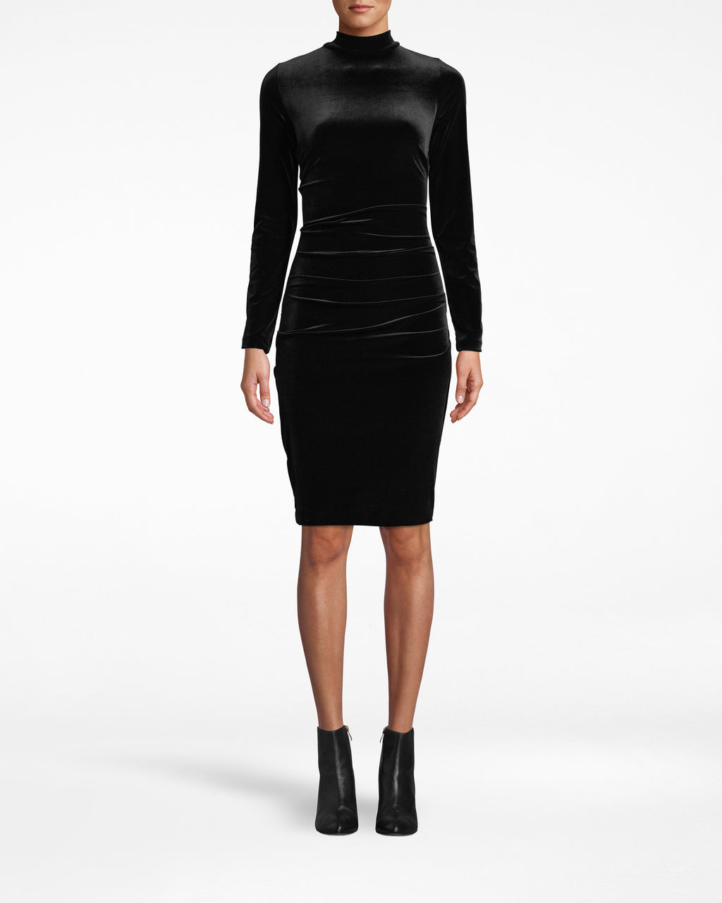 BL20019 - TURTLENECK DRESS - dresses - short - Your favorite turtleneck, in dress form. This long sleeve stunner hugs your body and gathers near the waist. Its uncomplicated design makes it all the more eye-catching. Back keyhole cutouts and exposed buttons for closure.