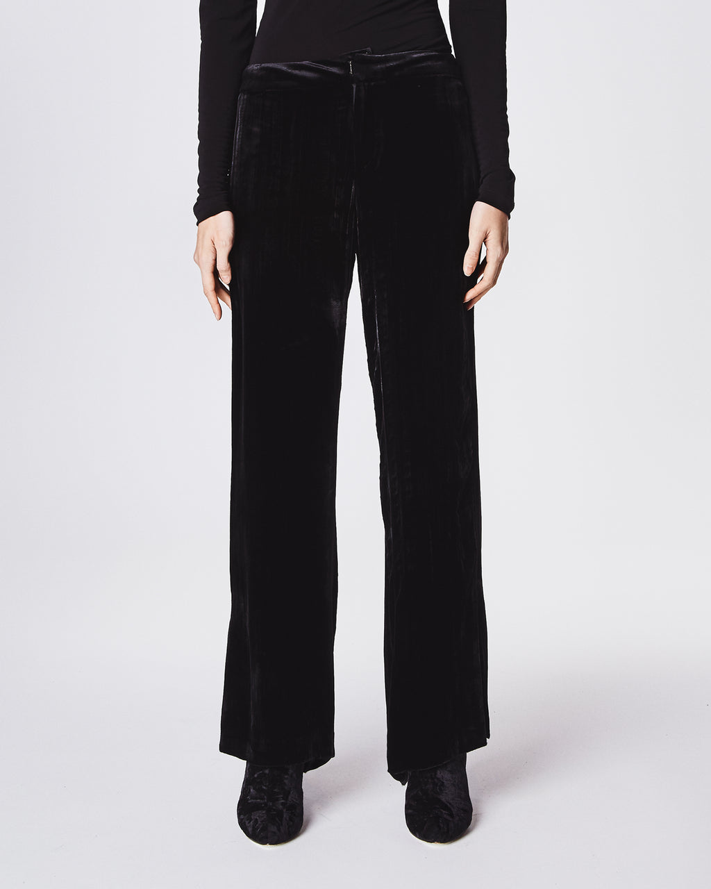 BM10197 - CRINKLED VELVET PANT - bottoms - pants - DREAMING IN VELVET. THESE HIGH-WAISTED PANTS SHOWCASE A SLIGHT CROP AND ANKLE SIDE SLITS. UNLINED. Final Sale