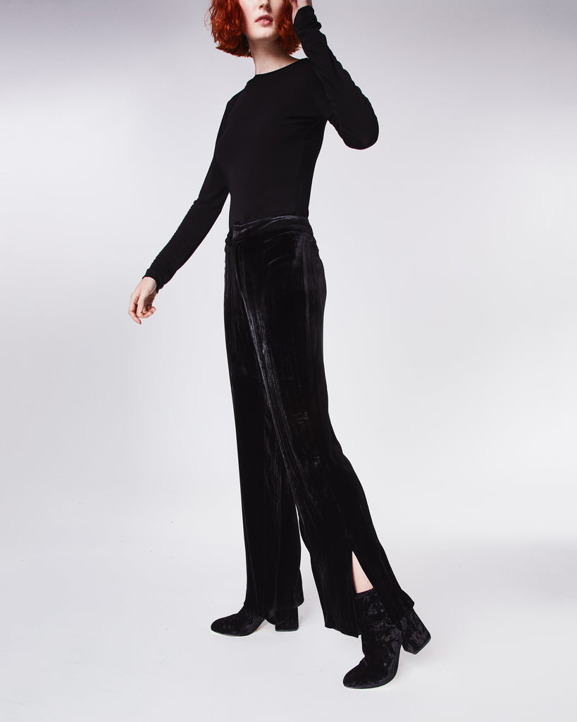 BM10197 - CRINKLED VELVET PANT - bottoms - pants - Slight cropped, these high waisted pants are made in a soft velvet and feature side slits at the ankles. Unlined. Final Sale Alternate View