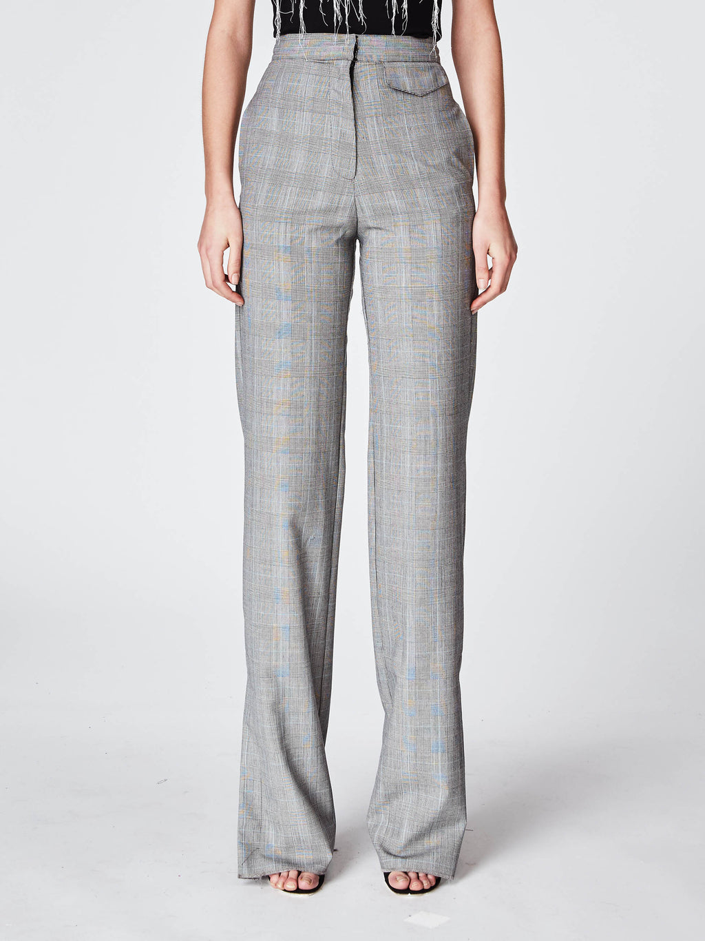 BM10199 - GLEN PLAID HIGH WAISTED PANT - bottoms - pants - In a light grey plaid, these high waisted tousers are fitted along the waist and fall to a straight-leg fit. Finished with a zipper and claspfor closure and unlined. Pair with the matching jacket for the perfect Fall look.