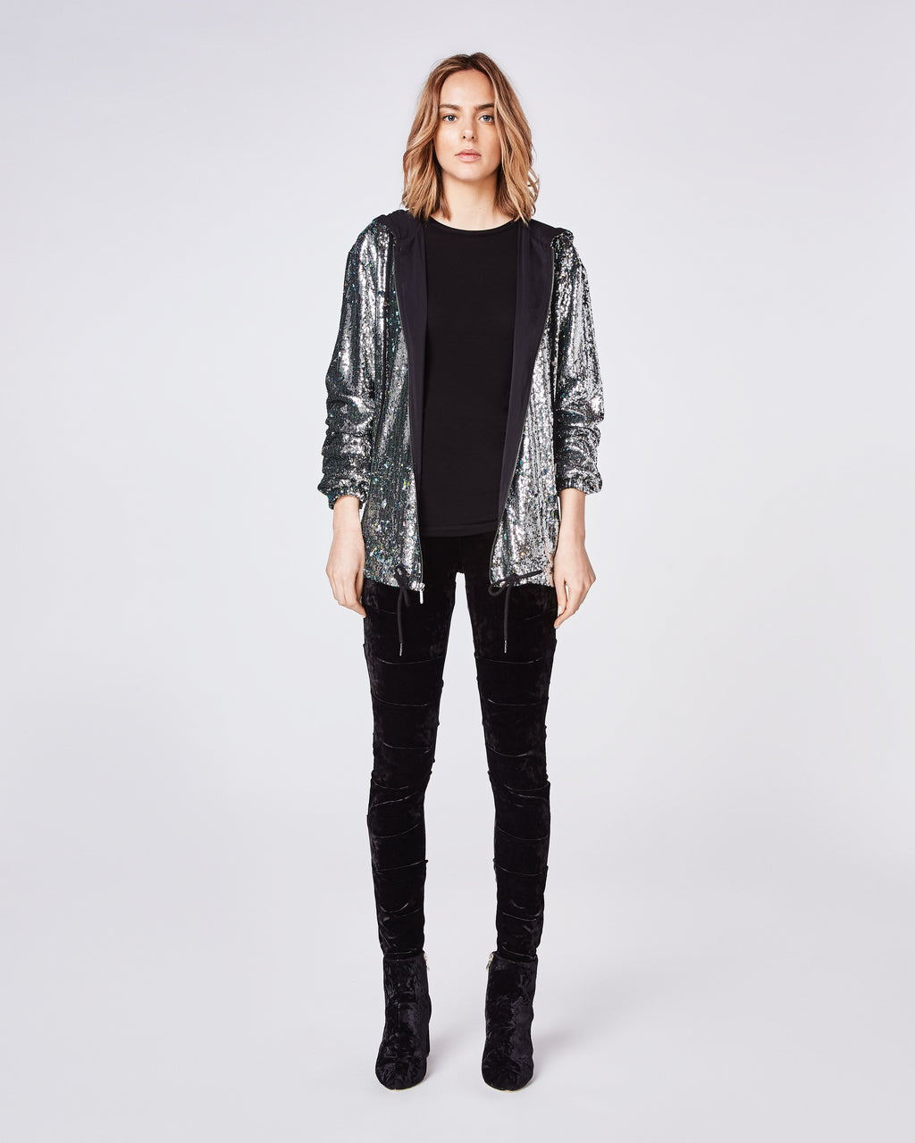 BM10207 - MERMAID SEQUIN ZIP UP HOODIE - tops - shirts - THIS RELAXED FIT SEQUIN ZIP-UP HOODIE PAIRS WELL WITH A BLACK PANT AND BOOTIE. Final Sale
