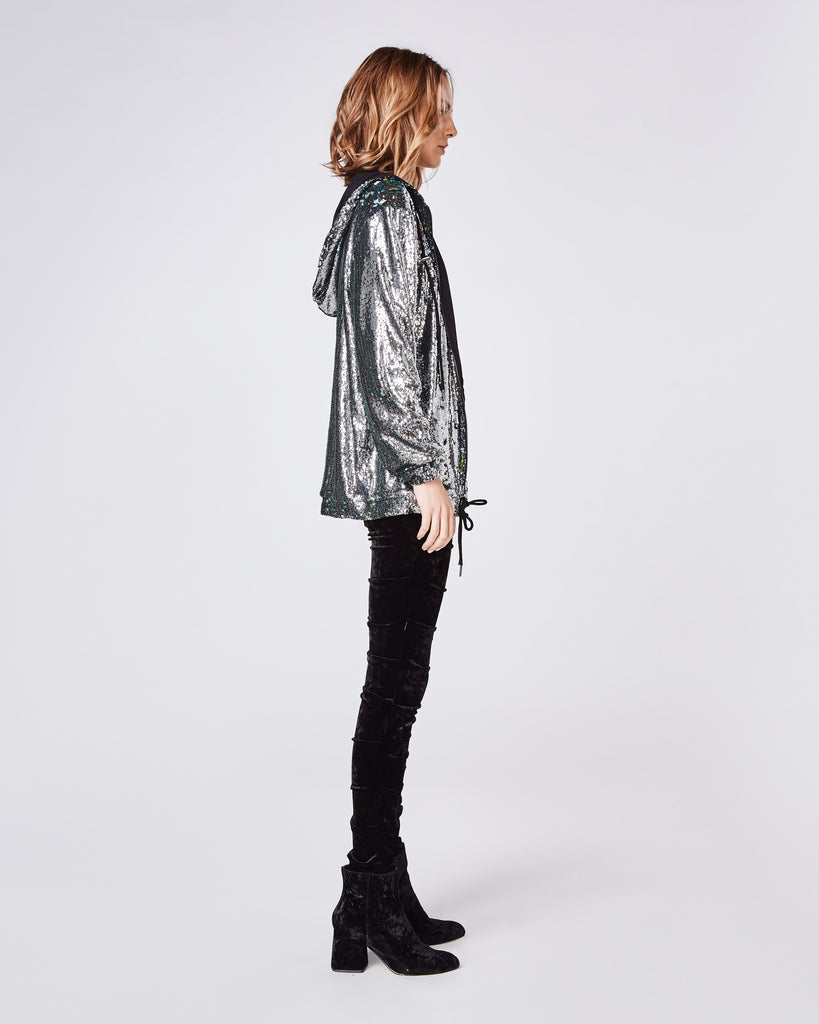 BM10207 - MERMAID SEQUIN ZIP UP HOODIE - tops - shirts - THIS RELAXED FIT SEQUIN ZIP-UP HOODIE PAIRS WELL WITH A BLACK PANT AND BOOTIE. Final Sale Alternate View