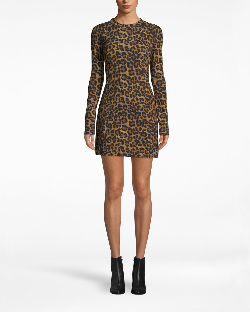 BM10220 - FURRY LEOPARD JERSEY L/S SHIRT DRESS - dresses - short - Categorize under Need. This leopard shirt dress is sexy, sleek, and effortlessly cool. It has a concealed back zipper and long sleeves.