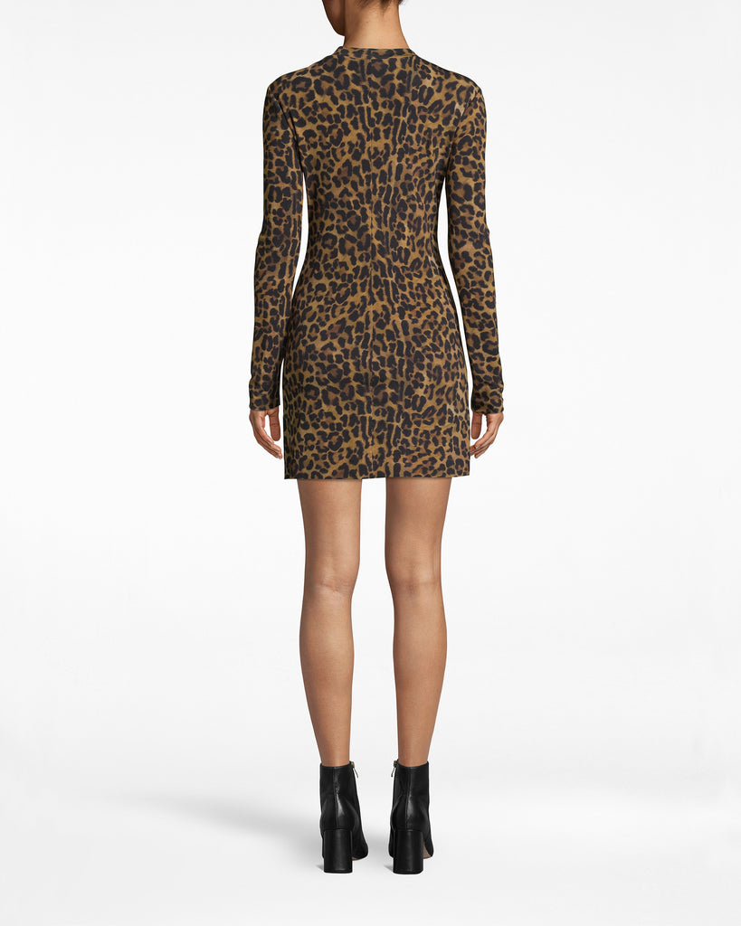 BM10220 - FURRY LEOPARD JERSEY L/S SHIRT DRESS - dresses - short - Categorize under Need. This leopard shirt dress is sexy, sleek, and effortlessly cool. It has a concealed back zipper and long sleeves. Alternate View