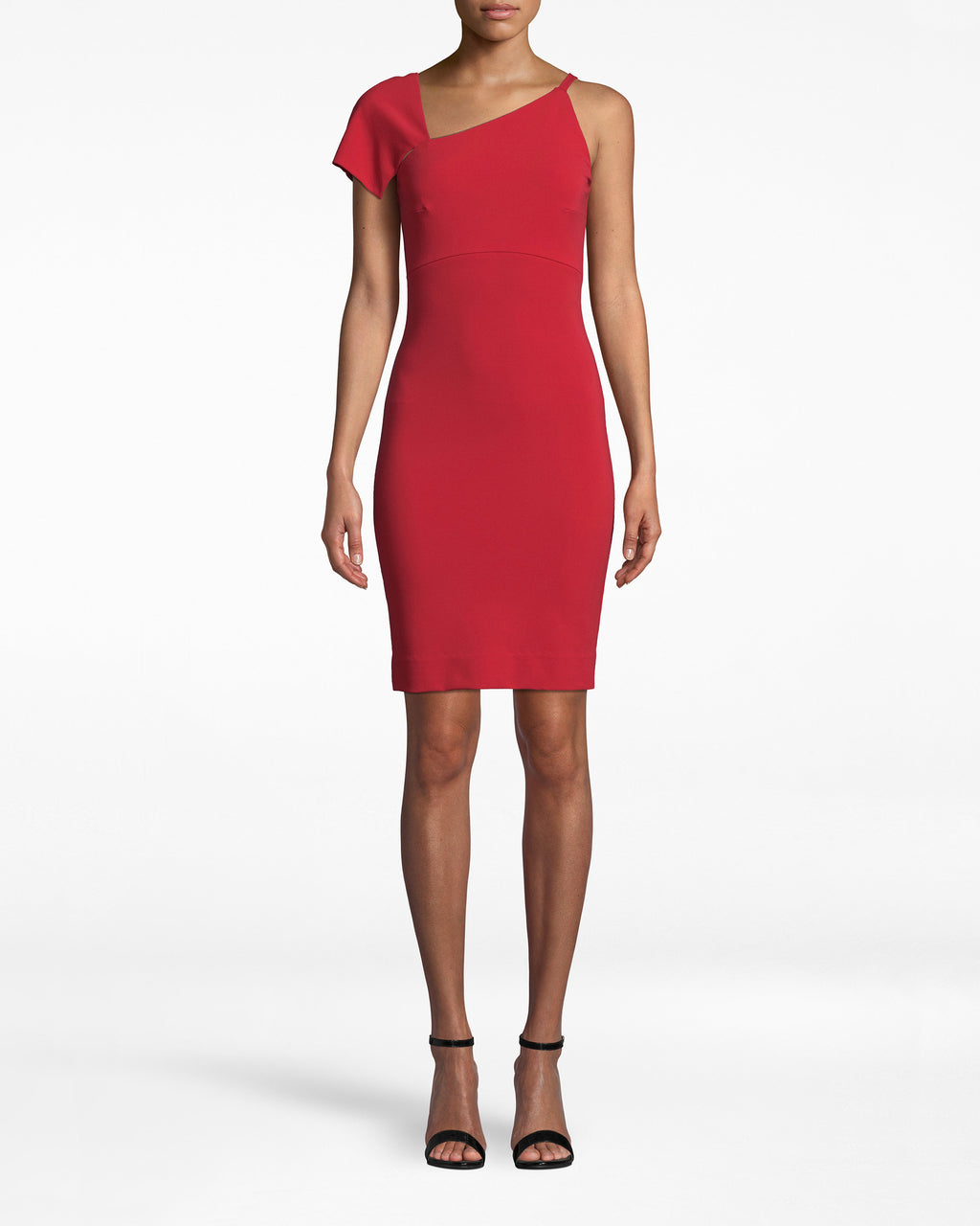BM10223 - HEAVY JERSEY ONE SHOULDER MINI DRESS - dresses - short - Feeling fancy? This multi-shouldered dress is sure to stun. The right short sleeve elegantly drapes to the arm while the strapless left side enhances the shoulder. Choose Cherry Red for a more daring look, or Black for simple chic. Exposed back zipper for closure.