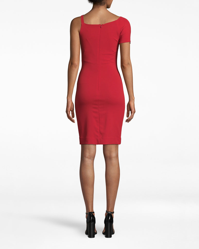 BM10223 - HEAVY JERSEY ONE SHOULDER MINI DRESS - dresses - short - Feeling fancy? This multi-shouldered dress is sure to stun. The right short sleeve elegantly drapes to the arm while the strapless left side enhances the shoulder. Choose Cherry Red for a more daring look, or Black for simple chic. Exposed back zipper for closure. Alternate View