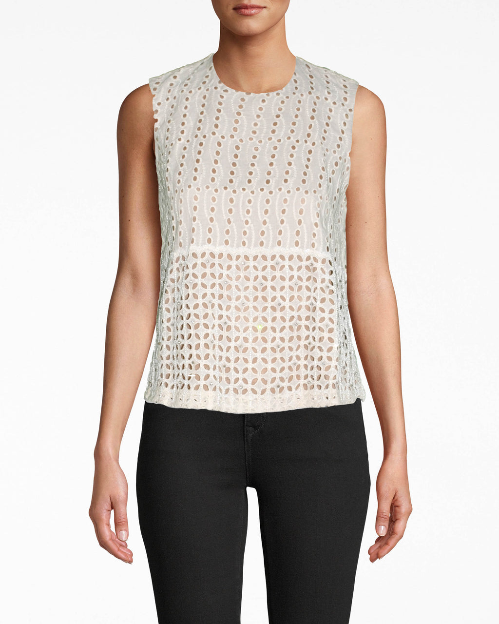 BM10227 - BEADED EYELET SHELL TOP - tops - shirts - THIS HIGH NECK TOP IS CRAFTED IN EYELET FABRIC AND DELICATELY BEADED THROUGHOUT. THIS SLEEVELESS TOP IS FULLY LINED WITH A BACK BUTTON FOR CLOSURE. Add 1 line break STYLIST TIP: WEAR WITH THE MATCHING SKIRT FOR A STATEMENT, MONOCHROME LOOK.